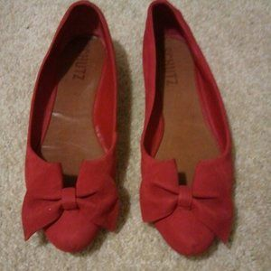 Schutz Made In Brazil 100% Leather Red Bow Flats 5